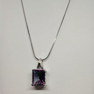 Jewelry - Mystic Topaz Rectangular Pendant on 18in SS Chain